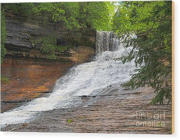 Wood Print featuring the photograph Laughing Whitefish Waterfall by Terri Gostola