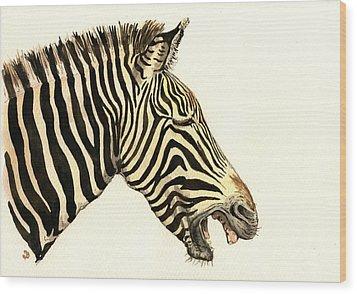 Laughing Zebra Wood Print by Juan  Bosco