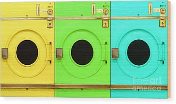 Laundromat Drying Machines Three 20130801 Wood Print by Wingsdomain Art and Photography
