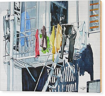 Laundry Day In San Francisco Wood Print by Tom Riggs