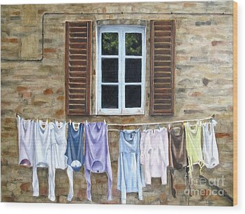 Laundry Day In Tuscany Wood Print by Karen Olson