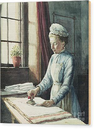 Laundry Maid Wood Print by English School