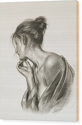 Laura In Deep Thought Wood Print by John Silver