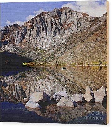 Laural Mountain Convict Lake California Wood Print by Bob and Nadine Johnston