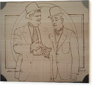 Laurel And Hardy - Thicker Than Water Wood Print by Sean Connolly