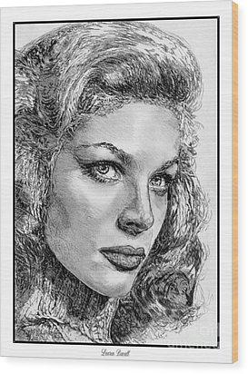 Lauren Bacall Wood Print by J McCombie