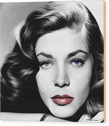 Lauren Bacall Large Size Portrait Wood Print