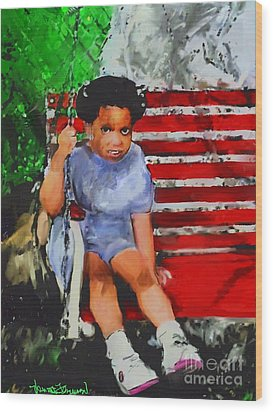 Wood Print featuring the painting Lauren On The Swing by Vannetta Ferguson
