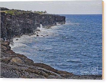 Lava Cliffs Wood Print by Gina Savage