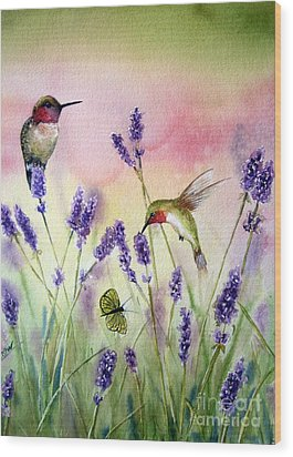 Lavender And Hummingbirds Wood Print by Patricia Pushaw