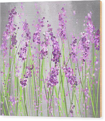 Lavender Blossoms - Lavender Field Painting Wood Print