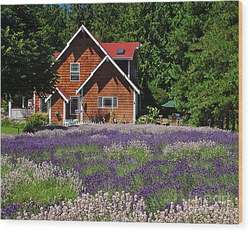 Lavender Cottage Wood Print by Chuck Flewelling