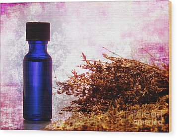 Lavender Essential Oil Bottle Wood Print by Olivier Le Queinec