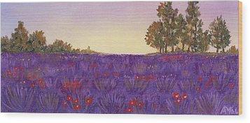 Lavender Evening Wood Print by Anastasiya Malakhova