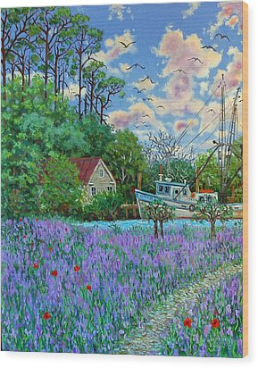 Wood Print featuring the painting Lavender Field Next To The Creek by Dwain Ray
