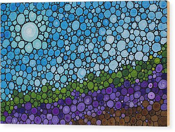 Lavender Fields - France French Landscape Art Wood Print by Sharon Cummings