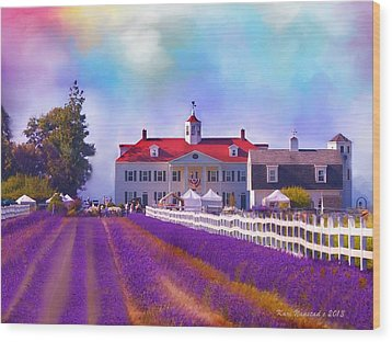 Wood Print featuring the digital art Lavender Fields by Kari Nanstad