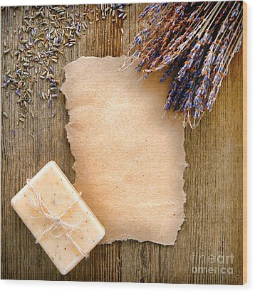 Lavender Flowers And Soap Wood Print by Olivier Le Queinec