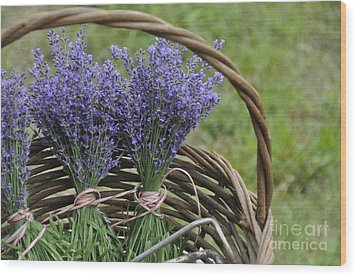 Lavender In A Basket Wood Print