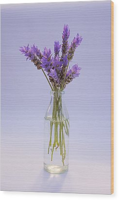Lavender In Glass Vase Wood Print by Jocelyn Friis