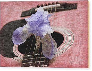 Lavender Iris And Acoustic Guitar - Texture - Music - Musical Instrument - Painterly - Pink  Wood Print by Andee Design