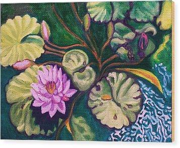 Lavender Lotus Flower Wood Print