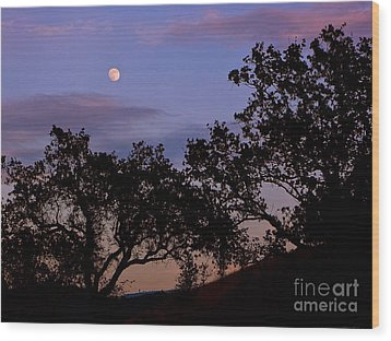 Lavender Moon Twilight Wood Print by Gem S Visionary