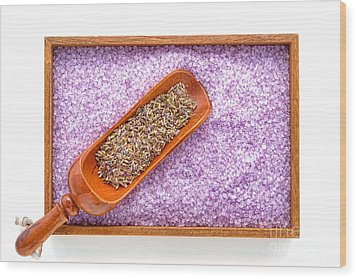 Lavender Seeds And Bath Salts Wood Print by Olivier Le Queinec