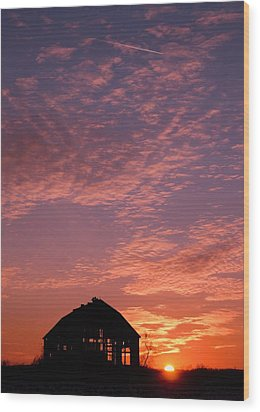 Lavender Sunset Silhouette Wood Print