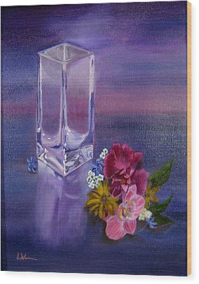 Wood Print featuring the painting Lavender Vase by LaVonne Hand