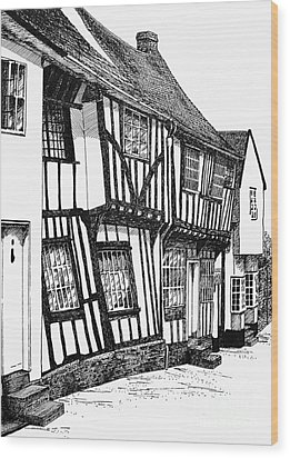 Lavenham Timber Wood Print by Shirley Miller