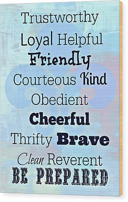 Law And Motto Wood Print by Mindy Bench