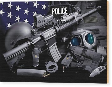 Law Enforcement Tactical Police Wood Print by Gary Yost
