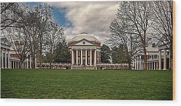 Lawn And Rotunda At University Of Virginia Wood Print by Jerry Gammon