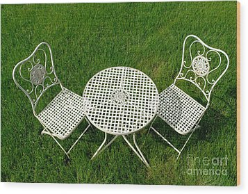 Lawn Furniture Wood Print by Olivier Le Queinec