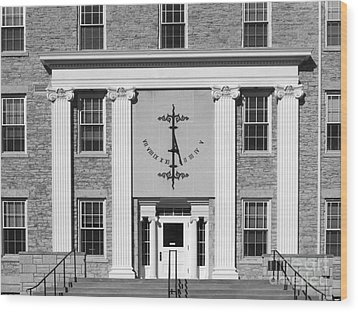 Lawrence University Main Hall Sundial Wood Print by University Icons
