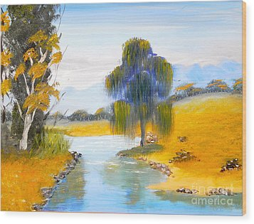 Wood Print featuring the painting Lawson River by Pamela  Meredith