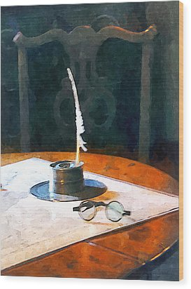 Lawyer - Quill And Spectacles Wood Print by Susan Savad