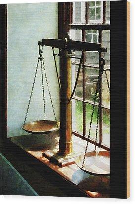 Lawyer - Scales Of Justice Wood Print by Susan Savad