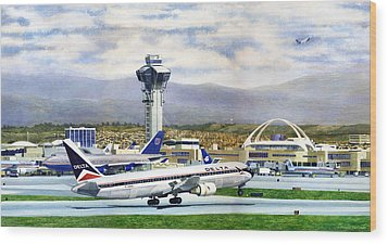 LAX Wood Print by Douglas Castleman