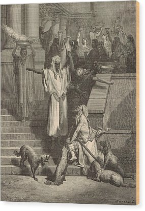 Lazarus And The Rich Man Wood Print by Antique Engravings