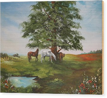 Wood Print featuring the painting Lazy Days In Summer by Jean Walker