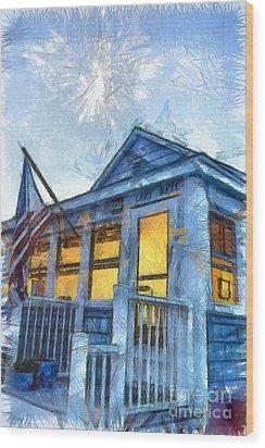 Lazy Daze Beach Cottage Pencil Sketch Wood Print by Edward Fielding