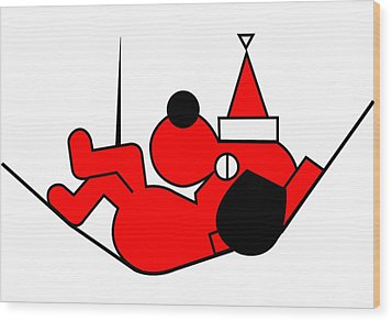 Lazy Red Dog Wishes You A Merry Christmas Wood Print by Asbjorn Lonvig