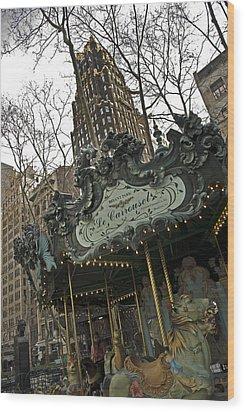 Le Carrousel Wood Print by Alida Thorpe