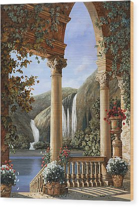 Le Cascate Wood Print by Guido Borelli