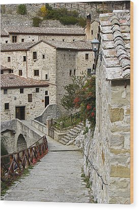 Le Celle Outside Cortona Italy Wood Print by Sally Ross