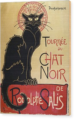 Le Chat Noir Wood Print by Georgia Fowler