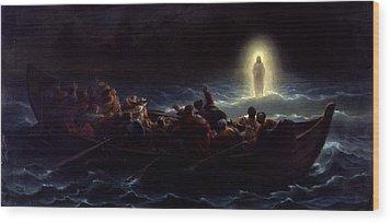 Le Christ Marchant Sur La Mer Wood Print by Amedee Varint