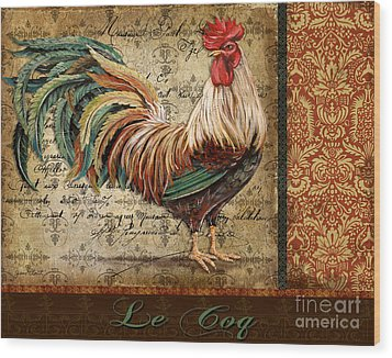 Le Coq-g Wood Print by Jean Plout